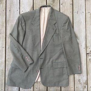 Oscar de la renta 2 button sport coat green tan 44